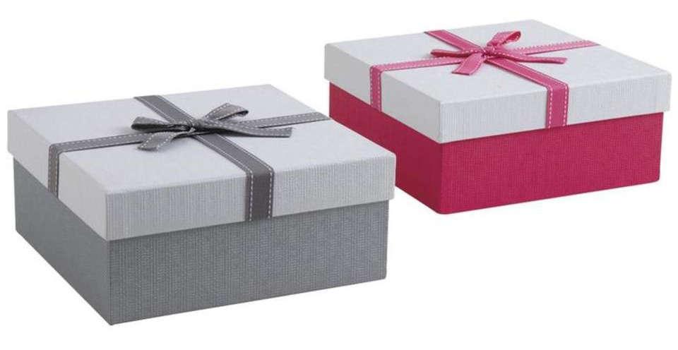 Image Boite Cadeau lot de 2 boites cadeau carrées en carton avec noeud. coloris assortis.
