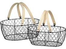 Panier métal / bois oval : Trays, baskets