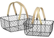 Panier métal / bois rectangle : Trays, baskets