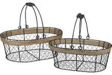 Panier métal / corde oval : Trays, baskets