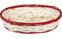 Corbeille bambou ovale - liseré rouge : Trays, baskets