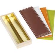 Coffret bois 2 rangées + couvercle simili cuir : Boxes