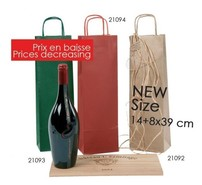 Kraft bag brown laid 1 bottle : Recherche