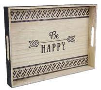 """Plateau bois """"Be Happy"""" : Trays, baskets"""