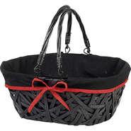 Panier Bois/osier noir : Trays, baskets