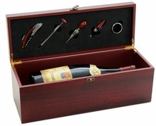 Coffret oenologie bois MAGNUM 5 accessoires : Bottles packaging and local products