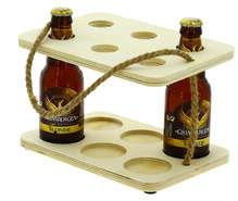 Serviteur 6 bières peuplier et corde  : Bottles packaging