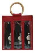 Jute bottles bag with window for 3 bottles 75 cl : Promo