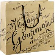 Sac papier kraft décor Voyage Gourmand noir : Bags