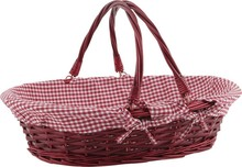 Wicker and wood  basket 44x33x11-28 cm : Trays, baskets