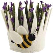 Corbeille en feutrine motif fleur  : Trays, baskets