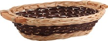 Wicker's  and wood basket 39-35x27x10 cm : Trays, baskets