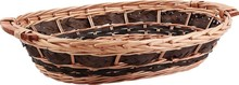 Wicker and tinted  wood basket 50-46x35x11cm : Trays, baskets