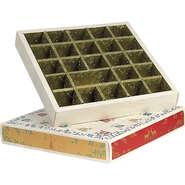 Calendrier de l'Avent carré  effet bois /rouge/vert/or 24 cases : Boxes
