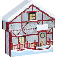 Coffret carton forme chalet rouge/blanc/  décor Bonnes fêtes : Celebrations