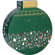 Coffret carton forme boule vert/blanc/rouge/  décor Bonnes fêtes : Celebrations