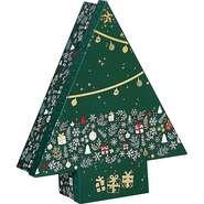 Coffret carton forme sapin décor Bonnes fêtes : Boxes