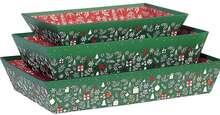 Corbeille carton rectangle  décor Bonnes fêtes : Trays, baskets