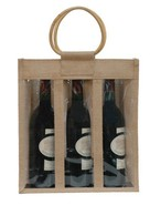 Sac jute 3 bouteilles 75 cl + fenêtre : Bottles packaging and local products