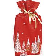 Sac polypropylène intissé rouge/blanc/or sapins : Small bags
