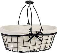 Panier métal ovale noir/tissu : Trays, baskets