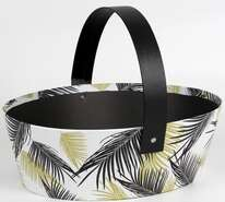 Panier ovale décor feuillage : Trays, baskets