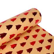 Papier cadeaux  kraft brun sapin rouge  : Packaging accessories