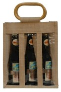Sac jute 3 bouteilles  37.5 cl + fenêtre : Bottles packaging and local products