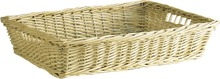 Wicker hamper white 39x30x7 cm  : Trays, baskets