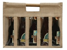 Jute bottles bag with window for 5 bottles 37.5 cl : Bottles packaging and local products