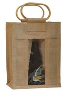 Sac toile de jute 6 bouteilles 37.5cl avec fenêtre : Bottles packaging and local products