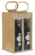 Jute bottles bag with window for 4 bottles 75 cl  : Bottles packaging