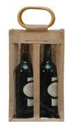 Jute bottle bag for 2 bottles 75 cl+ window : Bottles packaging and local products