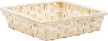 White Bamboo Basket 16x16x4cm : Trays, baskets