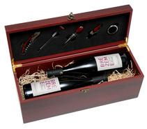 Coffret oenologie bois 2 bouteilles économique 5 accessoires : Bottles packaging