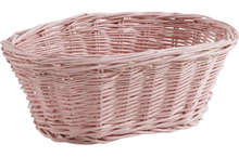 Wicker basket Glossy Pink 20 x 13 x 9 cm : Trays, baskets