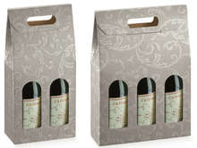 Grey Cardboard box for 2 and 3 bottles 0.75cl : Bottles packaging