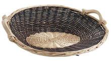 Van en osier brut et blanc 56/50 x 19 cm : Trays, baskets