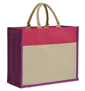 IBIZA Collection jute bag with pocket 420+170x350mm : Shop's bags