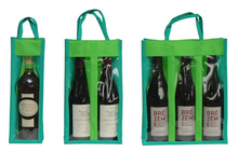 Non-woven bottle's bag with window : Bottles packaging and local products