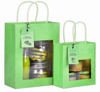 Green kraft bag with window : Jars packing