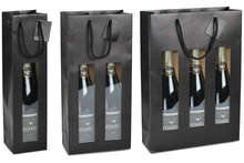 Kraft bag MAT BLACK with window for 1, 2 and 3 bottles : Bottles packaging