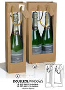 Kraft Bag 1 and 2 bottles DOUBLE WINDOW : Bottles packaging