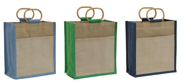 Sac jute vertical pochette + poignées rotin : Bags