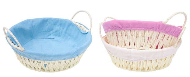 Pack of 3 Round paper ropes baskets + handles : Trays, baskets