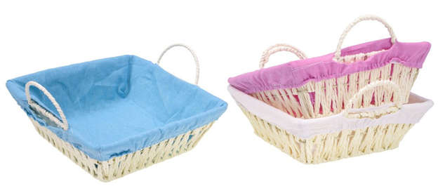 Pack of 3 Rectangular basket in paper rope + handles : Trays, baskets