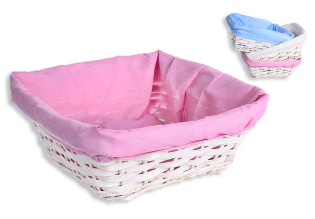 Pack of 3 Rectangular wicker basket + tissue : Trays, baskets
