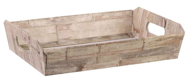 Corbeille carton motif BOIS : Trays, baskets