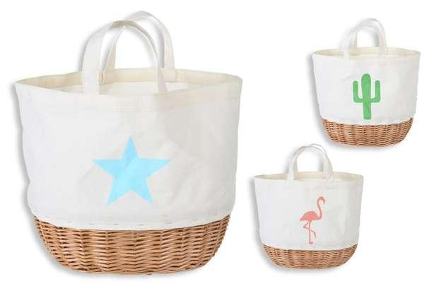 Lot de 3 petits sacs coton + osier : Bags