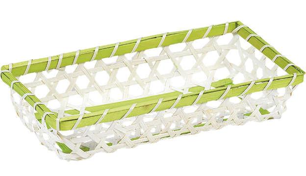 Corbeille bambou naturel + liseré vert : Trays, baskets